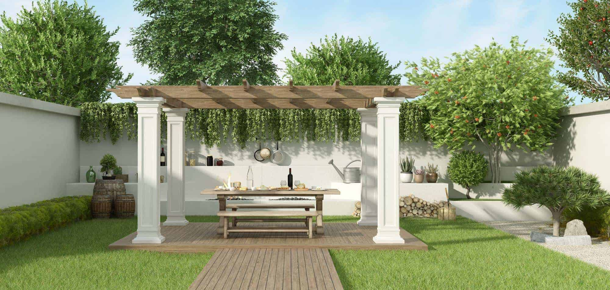 Lush garden with table set under a gazebo and barbecue on background