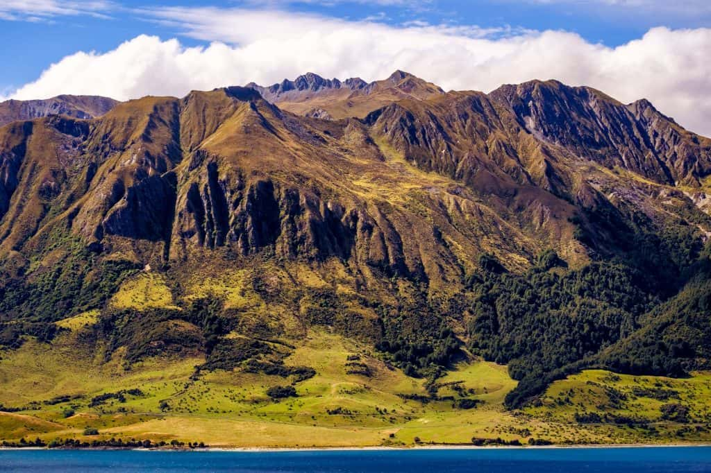 Rough mountain landscape near Lake Hawea, New Zealand